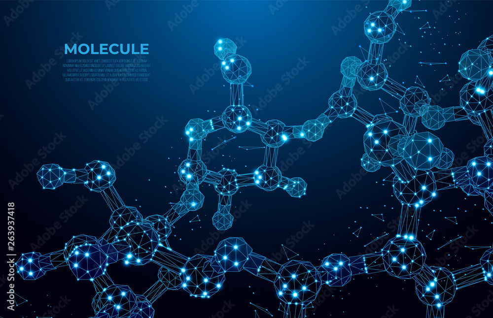 Fototapeta Scientific molecule low poly wireframe background for medicine, science, technology, chemistry.  Wallpaper or banner with a DNA molecules. Polygonal wireframe futuristic image