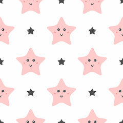 Seamless pattern with cute smiling stars. Pajama print for girls.