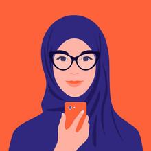 Portrait Of An Arabian Woman In Hijab And Glasses. Muslim Girl Avatar. Smartphone. Vector Flat Illustration