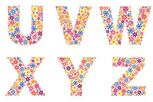 Alphabet Part, Letters U, V, W, X, Y, Z Filled With A Variety Of Colorful Flowers Isolated On White Background Vector Illustration