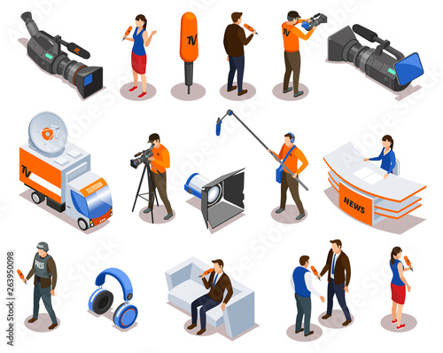 Broadcasting Isometric Icons Set Wallpaper Mural