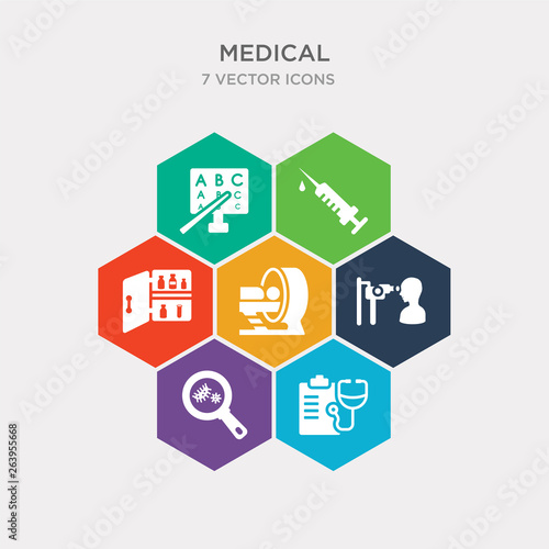 Fotografie, Tablou  simple set of diagnosis, bacterias, ophthalmologist examination, tomography icons, contains such as icons medicine cabinet, syringe needle, sight check table and more