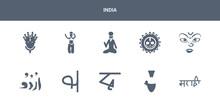 10 India Vector Icons Such As Marathi Language, Yakshagana, Bengali Language, Tamil Language, Urdu Contains Navratri, Ratha-yatra, Shaivism, Bihu, Krishna Janmashtami. India Icons