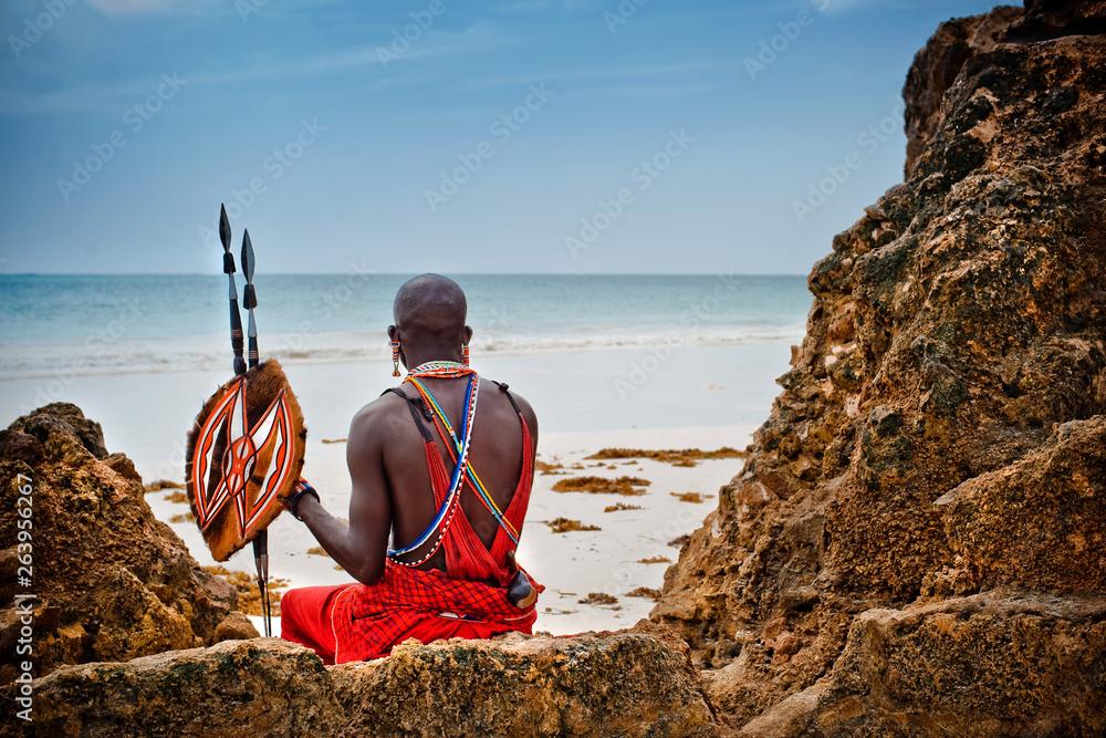 Fototapeta portrait of a Maasai warrior.