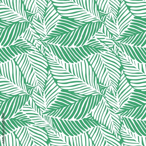 Ingelijste posters Tropische Bladeren Abstract green jungle print. Exotic plant. Tropical pattern, palm