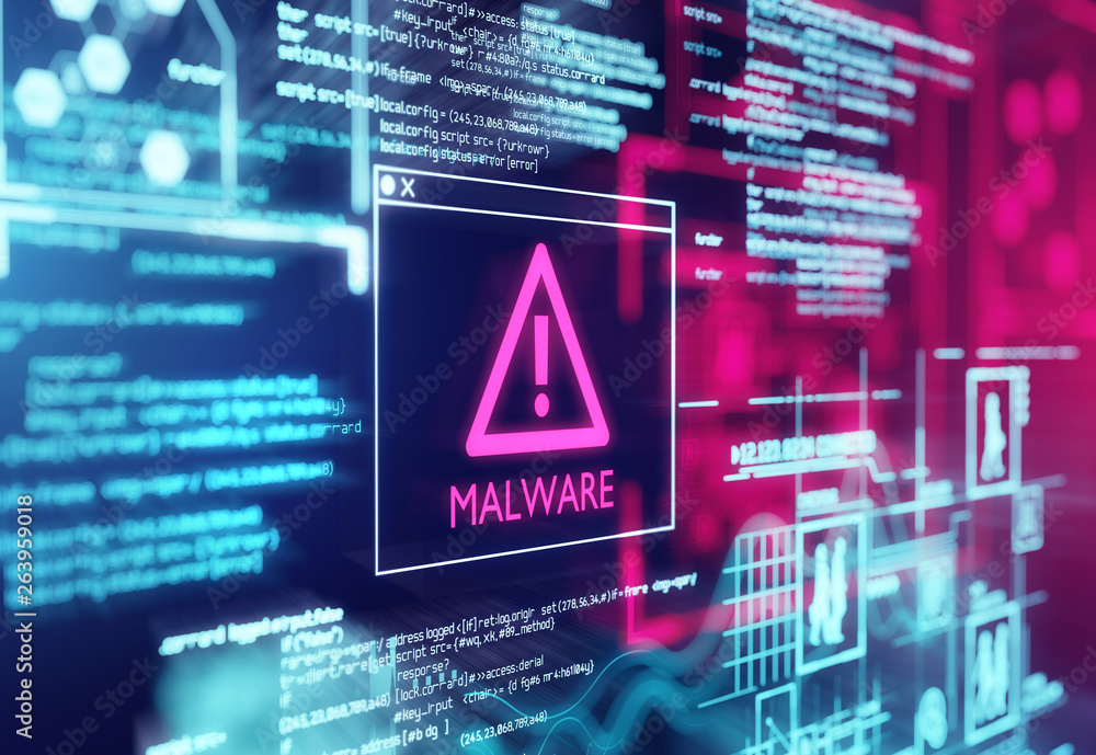 Fototapeta A computer screen with program code warning of a detected malware script program. 3d illustration