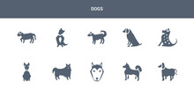 10 Dogs Vector Icons Such As A...