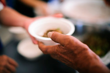 Volunteers Share Food To The Poor : Hands-on Food Of The Hungry Is The Hope Of Poverty : Concept Of Homelessness