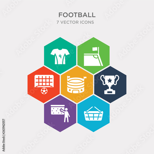 Photo  simple set of shopping basket, coach, cup, stadium icons, contains such as icons soccer goal, corner, soccer jersey and more