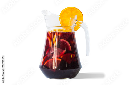 Cuadros en Lienzo Refreshing sangria fruit punch beverage in glass pitcher