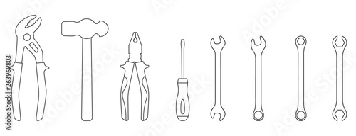 Fotomural Set of line style icons of tools