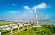 canvas print picture - The Pont de Normandie, a road bridge across the Seine linking Le Havre to Honfleur in Normandy, France
