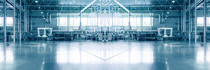 Piece of empty typical industrial interior. Concept of manufacture, warehouse, storage, factory space.