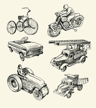 Retro Toys Drawn By Hands On A...