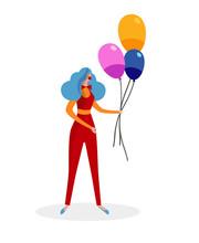 Female Animator In Red Clown C...