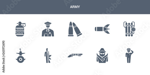 Photo  10 army vector icons such as salute, secret agent, shotgun, soldiers and a weapon, submarine front view contains time bomb with clock, torpedo, two bullets, veteran, whizbang with rong