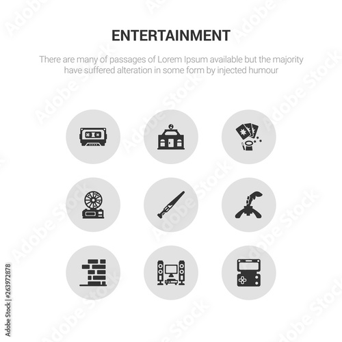 Photo  9 round vector icons such as handheld game, home theater, jenga, joystick, lightsaber contains lottery game, magic cards, mall, music tape