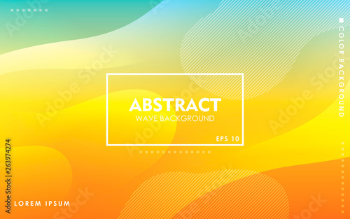 Fototapeta Dynamic wave background. Modern yellow and blue gradient color wavy abstract shape composition. Colorful fluid landing page. obraz