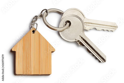 House keys with house shaped keychain, isolated on white background Wallpaper Mural