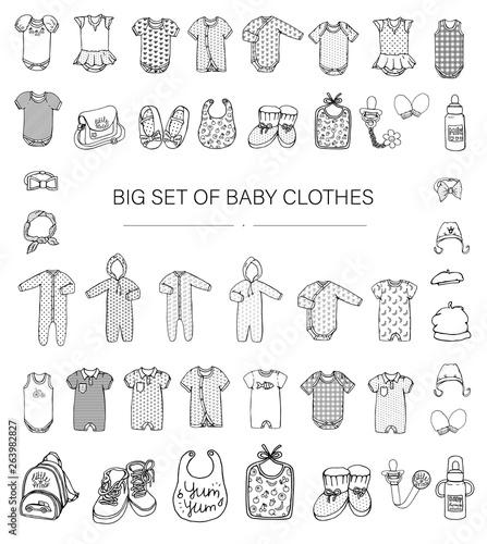 Fényképezés Vector black and white illustration of baby clothes