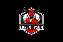 Bull Cartoon For Martial Arts MMA Logo Template