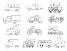 Vector Black And White Set Of Retro Engines And Transport. Vector Illustration Of Vintage Trains, Bus, Tram, Trolleybus, Car, Bicycle, Bike, Van, Truck Isolated On White Background.