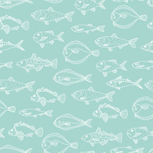 Vector Seamless Pattern Of White Fish Outlines Isolated On Blue Background. Repeating Background With Halibut, Rock-fish, Mackerel, Herring. Underwater Vintage Illustration