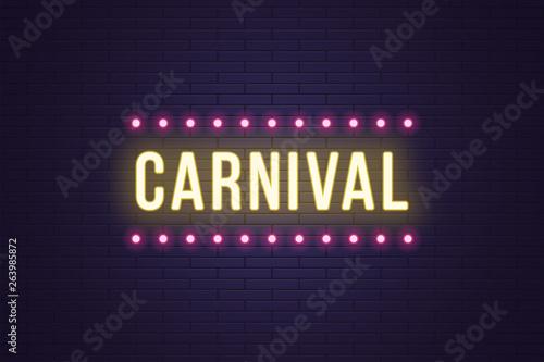 Fotografie, Obraz  Neon composition of headline Carnival. Neon text