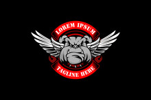 Bulldog Head Cartoon With Wing And Ribbon  Vector Emblem Logo Template