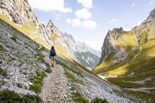 Austria, Tyrol, Woman On A Hik...