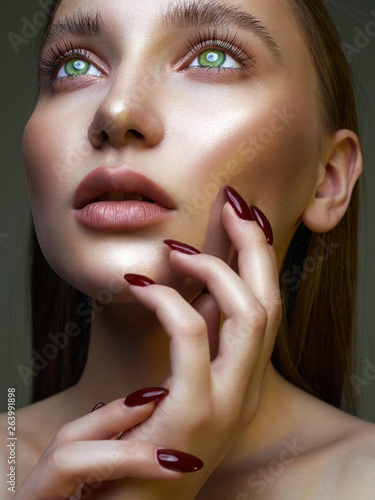 Beautiful woman face. sensual amazing girl Canvas Print