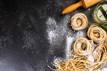 Raw Uncooked Homemade Pasta In...