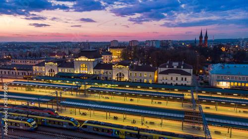 Train station and cityscape of Tarnow,Poland. Slika na platnu