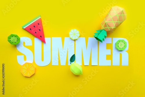 Poster Retro sign letter summer cut from paper with tropical fruit paper