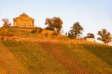 Germany, Baden-Wuerttemberg, Stuttgart, Sepulchral Chapel Wuerttemberg Mausoleum On Wuerttemberg Mountain, Vineyards In The Evening Light