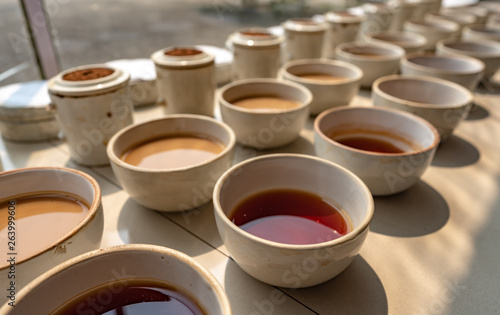 Tea tasting and testing during the manufacturing process at a tea factory in the Canvas Print