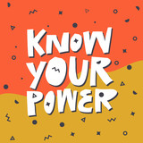 Know your power flat hand drawn t-shirt print - 264002033