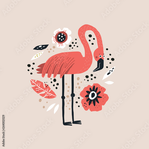 Obraz na płótnie Flamingo vector hand drawn illustration