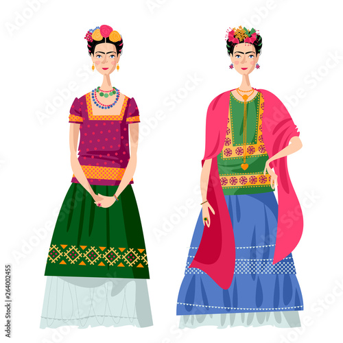 Canvas Print Two Mexican girls in costumes Frida Kahlo style.