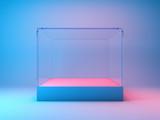 Fototapeta Przestrzenne - Empty glass showcase