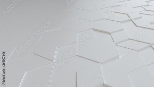 white abstract background with techie hexagons and triangles, 3D rendering, 3d illustration - 264007646