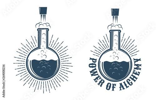 Fototapeta Chemistry retro logo. The chemical reaction in the flask knocks the cork. obraz