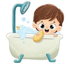 Niño Bañándose En La Bañera Con Espuma