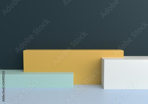 Fototapeta Minimal geometric shape pastel loving 3d rendering..