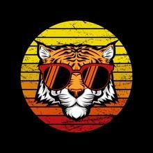 Tiger Retro Sunset Vector Illustration