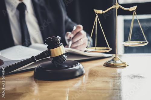 Αφίσα Male lawyer or judge working with contract papers, Law books and wooden gavel on