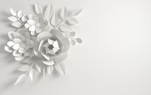Paper Whitel Flowers Background. Valentine's Day, Easter, Mother's Day, Wedding Greeting Card. 3d Render Digital Spring Or Summer Flower Pattern, Illustration In Paper Art Style.