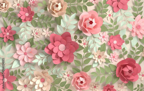 Fototapety na wymiar   paper-colorful-flowers-background-valentine-s-day-easter-mother-s-day-wedding-greeting