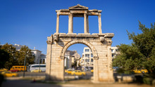 Hadrians Gate In Busy Downtown Athens, Greece