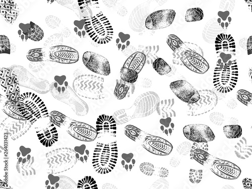 obraz lub plakat Seamless background of footprints and animal footprints. Vector illustration